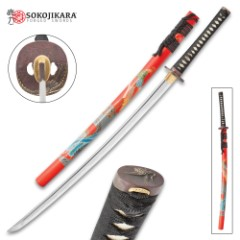 Sokojikara Soul Crane Handmade Katana / Samurai Sword - Hand Forged, Clay Tempered 1065 High Carbon Steel - Genuine Ray Skin; Bronze Tsuba - Functional, Full Tang, Battle Ready