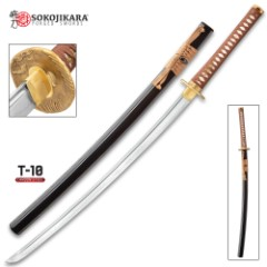 "Sokojikara Golden Crane Katana And Scabbard - T10 Clay Tempered Steel Blade, Genuine White Rayskin, All Brass Fittings - Length 40"""