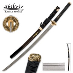 United Cutlery Black Kogane Dynasty Forged Katana Sword Damascus