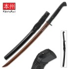 "Honshu Boshin Hellfire Damascus Handmade Wakizashi Sword - Hand Forged Red & Black ""Hellfire Damascus"" Steel, Exclusive Metallurgical Process - Full Tang, Modern Tactical - TPR Grip, Wooden Saya - 34"""