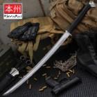 Honshu Boshin Wakizashi - Modern Tactical Samurai / Ninja Sword - Hand Forged 1060 Carbon Steel - Full Tang, Fully Functional, Battle Ready - Black TPR, Steel Guard and Pommel, Lanyard Hole - Scabbard