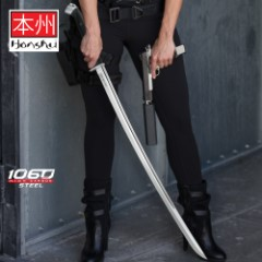 Honshu Boshin Katana - Modern Tactical Samurai / Ninja Sword - Hand Forged 1060 Carbon Steel - Full Tang, Fully Functional, Battle Ready - Black TPR, Steel Guard, Pommel, Lanyard Hole - Full Tang