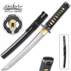 Shikoto Longquan Master Tanto With Scabbard- T10 High Carbon Steel, Hammer Forged, Clay Tempered, Tea-Dyed Rayskin - Length 20""
