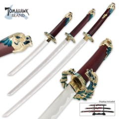 3 Pc. Red Oda Nabunga Samurai Ninja Sword Set