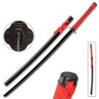 Black And Red Dojo Training Katana - Black Stainless Steel Blade, Red Cord Wrapped Handle, Lacquered Wooden Scabbard - Length 38""
