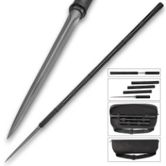 """B.M.F.™ Tri-Edged Heavy Spear With Zippered Case - Titanium Finish - Breaks Down For Storage - 45 1/2"""" Length"""