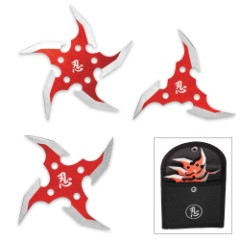 Circulus Mortem 3-Piece Throwing Star Set with Nylon Pouch - Red