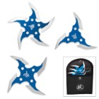 Circulus Mortem 3-Piece Throwing Star Set with Nylon Pouch - Blue