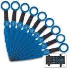 On Target Blue Throwing Knife Set With Sheath - Nine Pieces, 3Cr13 Stainless Steel Construction, Cord-Wrapped Handles - Length 6 1/4""