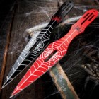Two-Piece Arachnid Throwing Knife Set And Sheath - Solid Stainless Steel Construction, Painted Artwork, Lanyard Holes - Length 9""