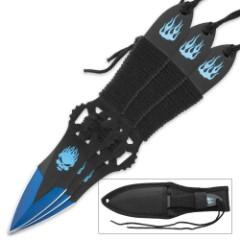 Flaming Blue Skull Throwing Knives Set