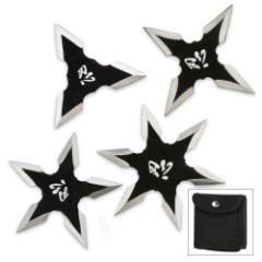 Kung Fu Four Piece Ninja Throwing Star Set With Pouch