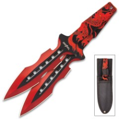Perfect Point Red Dragon Throwing Knife Set With Sheath – Three Pieces, Stainless Steel, Embossed Printed Design – Length 7 1/2""