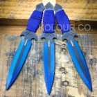 Perfect Point Two-Tone Black And Blue Three-Piece Throwing Knife Set