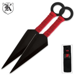 Kunai Throwing Knife Twin Set Black with Red Wrapping