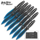 Ridge Runner Arctic Blue Throwing Knife Set And Sheath - 12 Pieces, Solid Stainless Steel Construction, Penetrating Point - Length 5 3/4""