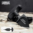 "Combat Commander Mini Black Push Dagger - Sheath Has Keyring And Clip - Serrated Blade - 2 3/4"" Length"