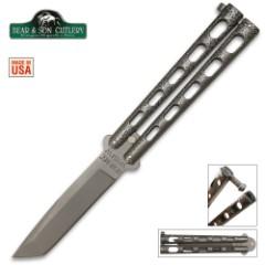 Bear Silver Vein Armor Piercing Butterfly Knife