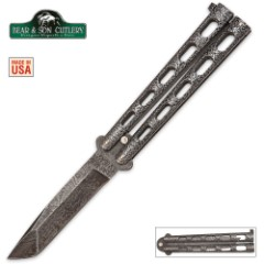 Bear & Son Butterfly Knife Damascus Tanto