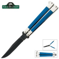 Smooth Blue Butterfly Knife