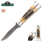 Bear & Son Butterfly Knife India Stag Bone