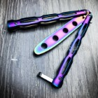 High Quality Practice BALISONG METAL BUTTERFLY RAINBOW Trainer Knife BLADE NEW