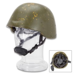 NATO Polish Kevlar Helmet - Genuine Military Surplus, Used by NATO Forces in Afghanistan -  OD Green; Adjustable Inner Liner, 4-Point Chin Strap - Used / Good Condition - Tactical Survival Prepper