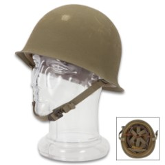 French Army M51 Helmet - Genuine Military Surplus, Standard Troop Issue - Steel Pot Style; OD Green; Molded Inner Liner; Adjustable Headband, Chin Strap - Post WWII Era, Used / Excellent Condition
