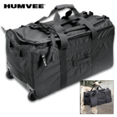 Humvee Deployment Roller Bag – 1,000 Denier Nylon Construction, Water-Resistant, Virtually Indestructible, Shoulder Straps