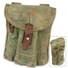 "Three Pocket AK Rifle Magazine Pouch - Used, Military Surplus, Tough Canvas Construction, Nylon Webbing Belt Loops - Dimensions 9 1/4""x 7 1/4"""