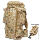 "Camo Rifle Backpack With MOLLE System - 600D Nylon Construction, Multiple Pockets, Waist Strap, Shoulder Straps - Dimensions 23 1/2""x 12 1/2""x 6 3/4"""