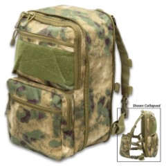 Foliage Camo Expandable Flatpack And Quick Detach Chest Rig - 1000D Nylon Construction, MOLLE Panel, Adjustable Straps