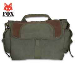 Fox Retro Bavarian Alps Messenger Bag – Washed Canvas, Leather Trim, Sturdy Zippers, Adjustable Shoulder Strap