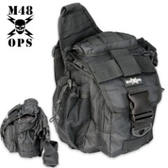 M48 OPS Tactical Waist Sling Bag - Messenger - Black