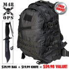 M48 OPS All-Purpose Black Backpack And Free Tactical Knife - 600D Nylon Construction, Metal Zippers, Spacious Pockets
