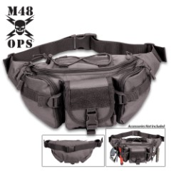 M48 Black Military Fanny Pack - Heavy-Duty Nylon Construction, Multiple Pockets, Adjustable Waist Strap, ABS Buckles