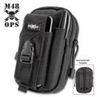 "M48 Black Tactical Waist Bag With Phone Case - Heavy-Duty Nylon Construction, Multiple Pockets, Belt Straps, MOLLE - 7 1/4""x 4 3/4"""