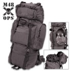 M48 Black Camping Backpack With Rain Cover - Heavy-Duty Nylon Construction, Multiple Pockets, Adjustable Shoulder Straps