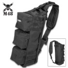 "M48 Black Military Style Shoulder Sling Bag - Tough Canvas Construction, Multiple Pockets, Nylon Webbing Straps - Dimensions 22""x 11"""