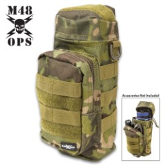 "M48 Tactical Water Bottle Pouch - 900D Oxford Material Construction, Water-Repellent, MOLLE Webbing - Dimensions 10""x 5 1/2"""