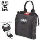"""M48 Medical Pouch - 600D Polyester Construction, MOLLE Webbing, Double Zipper Closure, Inside Bungee Cord System - Dimensions 6 1/2""""x 6"""""""