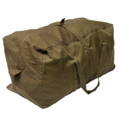 "Czech Military Surplus Pilot Duffel Bag - Olive Drab / OD Green - Heavyweight Cotton Canvas - Outdoors, Travel, Overnight, Home, Survival, Emergency, Bug-Out, Tactical - 24"" x 12"" x 10"""