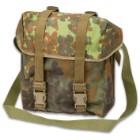 German Military Surplus Combat Pack / Shoulder Bag - Flecktarn Camo - Water Resistant Nylon; Waterproof Rubberized Core; Shoulder Strap - Used - Hunting Fishing Outdoors Army School Bookbag Tactical