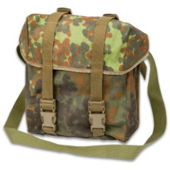 German Military Surplus Combat Pack / Shoulder Bag - Flecktarn Camo - Water Resistant Nylon; Waterproof Rubberized Core; Shoulder Strap - Used - Hunting Fishing Outdoors Army School Bookbag Tactical