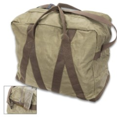 "German Army Pilot Bag (X-Large Duffel), OD - Genuine Military Surplus; Used / Great Condition  - Cordura Nylon - Heavy Duty Zipper - Cotton Canvas Handles, Adjustable Shoulder Strap - 22"" x 12"" x 19"""