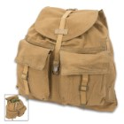 Czech Army Small Rucksack - Genuine Military Surplus, 1970s Cold War Era - Heavyweight Cotton Canvas, Removable Suspenders - Used / Great Condition, Vintage Style - Bookbag Outdoors Travel Everyday