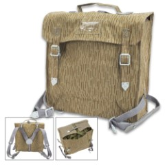"""East German Rain Camo Combat Pack with Clip-on Suspenders / Y Straps - Genuine Military Surplus; Troop Issue 1968-1991; Used / Excellent Condition - Heavy Duty Cotton Canvas - 12"""" x 5"""" x 11"""""""