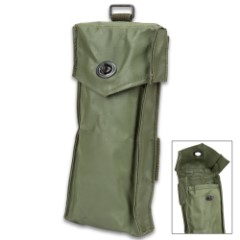 "Belgium Military Issued Rifle Magazine Pouch - Like New, Heavy-Duty PVC Construction, Metal Closure - Dimensions 4""x10""x1"""