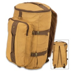 "Coyote Brown Convertible Duffle and Backpack – Cotton Canvas Construction, Hideaway Padded Straps, Carry Handle – Dimensions 19""x 11"""