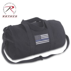 Rothco Thin Blue Line Duffle Bag – Heavyweight Cotton Canvas, Detachable Strap, Carry-On Handles, Thin Blue Line Flag